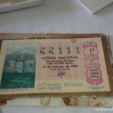Lotería Nacional: DECIMO DE LOTERIA DEL AÑO 1985 PUERTA DEL SOL. Lote 83061012