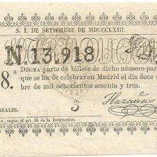 Lotería Nacional: DÉCIMO DE LOTERÍA NACIONAL: 12 DE SEPTIEMBRE DE 1863. Lote 84425156