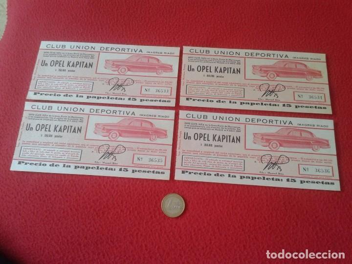 LOTE 4 PARTICIPACIONES LOTERÍA NACIONAL CLUB UNIÓN DEPORTIVA MAGREB RIADI 1958 OPEL KAPITAN RIFA VER (Coleccionismo - Lotería Nacional)