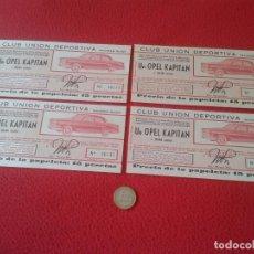 Lotería Nacional: LOTE 4 PARTICIPACIONES LOTERÍA NACIONAL CLUB UNIÓN DEPORTIVA MAGREB RIADI 1958 OPEL KAPITAN RIFA VER. Lote 84511872