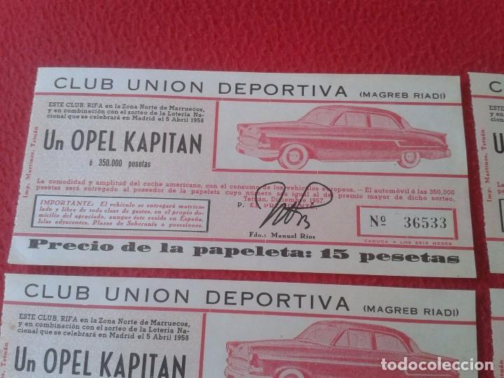 Lotería Nacional: LOTE 4 PARTICIPACIONES LOTERÍA NACIONAL CLUB UNIÓN DEPORTIVA MAGREB RIADI 1958 OPEL KAPITAN RIFA VER - Foto 2 - 84511872