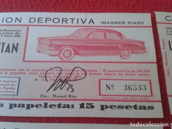 Lotería Nacional: LOTE 4 PARTICIPACIONES LOTERÍA NACIONAL CLUB UNIÓN DEPORTIVA MAGREB RIADI 1958 OPEL KAPITAN RIFA VER - Foto 4 - 84511872