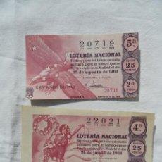 Lotería Nacional: 2 NÚMEROS DE LOTERIA NACIONAL. AÑO 1964.. Lote 85020500