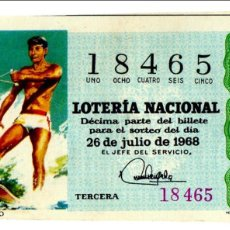 Lotaria Nacional: LOTERÍA NACIONAL - ESQUÍ NÁUTICO - ESQUÍ ACUÁTICO - DEPORTES - Nº 18465 - 26/07/1968. Lote 85433000