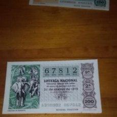 Lotería Nacional: DÉCIMO DE LA LOTERÍA NACIONAL 67812 S2 F9. 31 MARZO 1979. CARAVANA DE ELEFANTES. Lote 87670512
