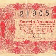 Lotería Nacional: BILLETE LOTERIA NACIONAL 15 DE ENERO DE 1954. Lote 87717804