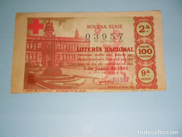 BILLETE DE LA LOTERIA NACIONAL DEL 5 DE JUNIO DE 1965 (NOVENA SERIE) SAN MARCOS DE LEÓN (Coleccionismo - Lotería Nacional)
