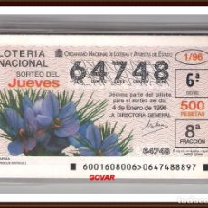 Lotería Nacional: AÑO COMPLETO 1996 LOTERIA NACIONAL DEL JUEVES, TEMA FLORES . Lote 90875025