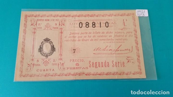 DÉCIMO DE LOTERÍA DEL AÑO 1921 SORTEO Nº 3 (Coleccionismo - Lotería Nacional)