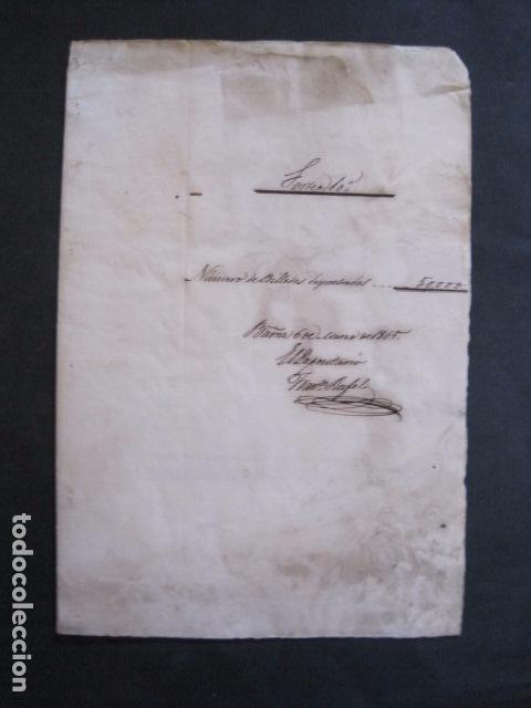 LOTERIA SORTEO - BARCELONA - AÑO 1865 - ACTA -VER FOTOS-(V-11.779) (Coleccionismo - Lotería Nacional)