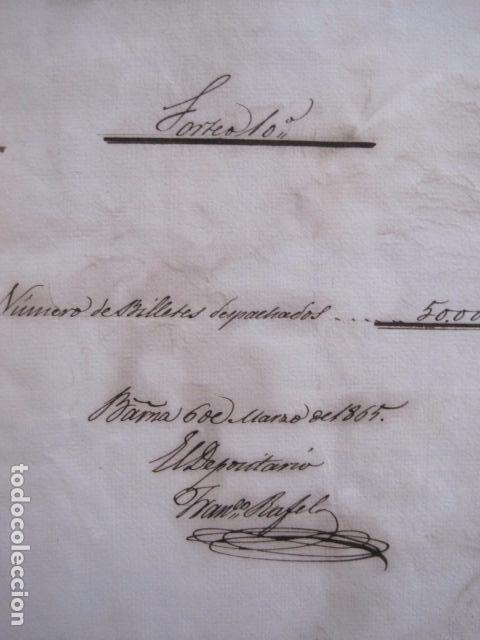 Lotería Nacional: LOTERIA SORTEO - BARCELONA - AÑO 1865 - ACTA -VER FOTOS-(V-11.779) - Foto 2 - 91136485