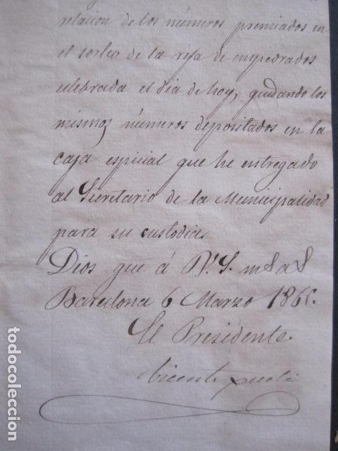 Lotería Nacional: LOTERIA SORTEO - BARCELONA - AÑO 1865 - ACTA -VER FOTOS-(V-11.779) - Foto 5 - 91136485