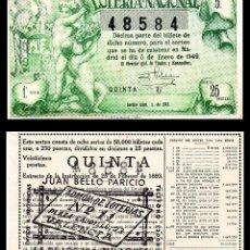 Lotería Nacional: LOTERIA NACIONAL, SORTEO 1/1949.. Lote 91269700
