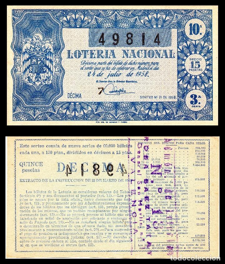 LOTERIA NACIONAL, SORTEO 21/1958. (Coleccionismo - Lotería Nacional)
