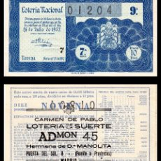 Lotería Nacional: LOTERIA NACIONAL, SORTEO 21/1957.. Lote 91495155