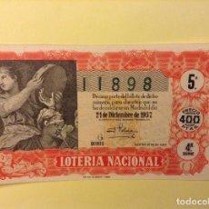 Lotería Nacional: BILLETE LOTERIA NACIONAL. 21 DICIEMBRE 1957. Lote 91504280