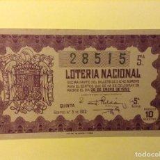 Lotería Nacional: BILLETE LOTERIA NACIONAL. 25 ENERO 1952. Lote 91504545