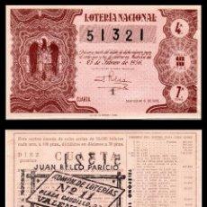 Lotería Nacional: LOTERIA NACIONAL, SORTEO 6/1956.. Lote 91556745