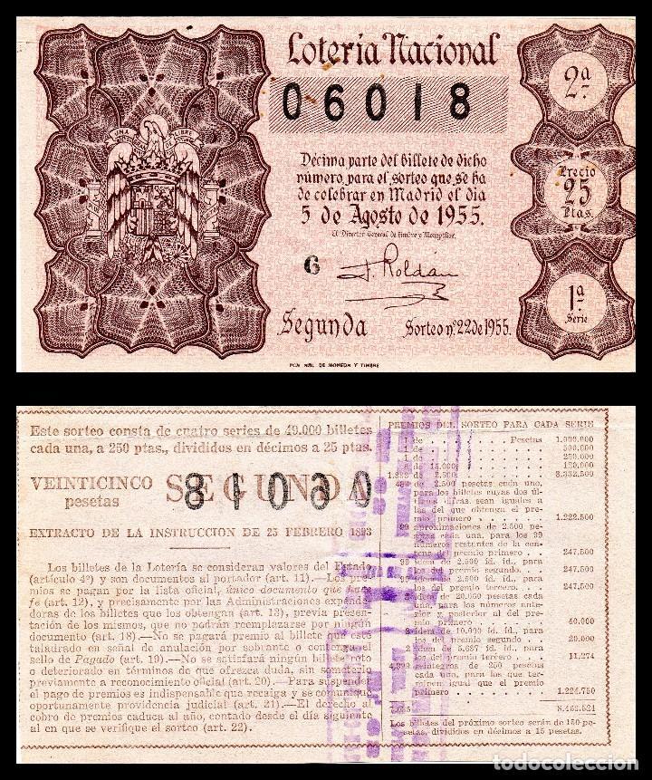 LOTERIA NACIONAL, SORTEO 22/1955. (Coleccionismo - Lotería Nacional)