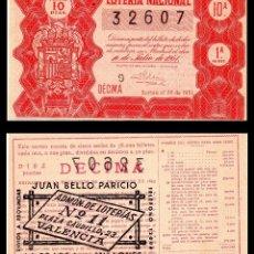 Lotería Nacional: LOTERIA NACIONAL, SORTEO 20/1951.. Lote 91579055