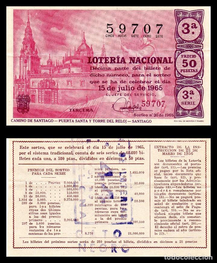 LOTERIA NACIONAL, SORTEO 20/1965. (Coleccionismo - Lotería Nacional)