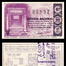 Lotería Nacional: LOTERIA NACIONAL, SORTEO 28/1965.. Lote 91753810