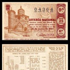 Lotería Nacional: LOTERIA NACIONAL, SORTEO 18/1965.. Lote 91757580