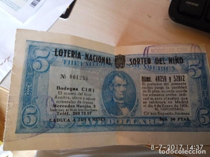 PARTICIPACIÓN DE BODEGAS CIRI DEL SORTEO DEL NIÑO DE 1969 (Coleccionismo - Lotería Nacional)