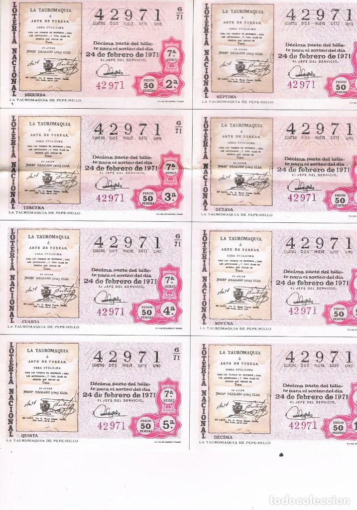 8 DECIMOS TEMA TAUROMAQUIA LOTERIA NACIONAL (Coleccionismo - Lotería Nacional)