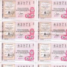 Lotería Nacional: 8 DECIMOS TEMA TAUROMAQUIA LOTERIA NACIONAL. Lote 92299655