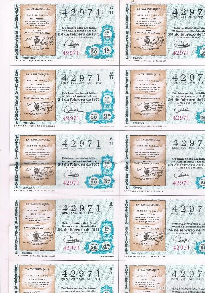 Lotería Nacional: ESPAÑA LOTERIA NACIONAL 10 DECIMOS UNA HOJA EL ARTE DE TOREAR - Foto 3 - 92842990