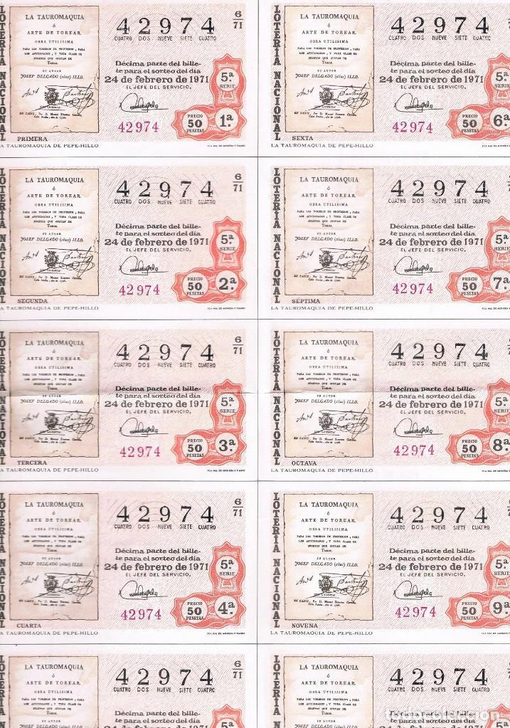 10 DECIMOS LOTERIA COMPLETOS TAUROMAQUIA (Coleccionismo - Lotería Nacional)
