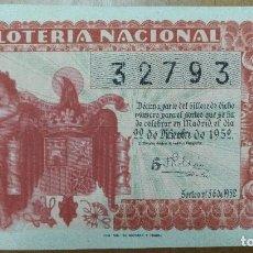 Lotería Nacional: BILLETE LOTERIA NACIONAL SORTEO NAVIDAD 1952 ADMINISTRACION 45 HERMANA Dª MANOLITA MADRID. Lote 94005230