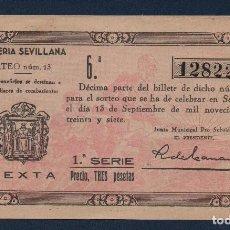 Lotería Nacional: SEVILLA LOTERIA PATRIOTICA, SORTEO Nº 13, AÑO 1937, VER FOTO. Lote 94437082