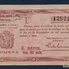 Lotería Nacional: SEVILLA LOTERIA PATRIOTICA, SORTEO Nº 13, AÑO 1937, CALCADO.VER FOTO. Lote 94437198