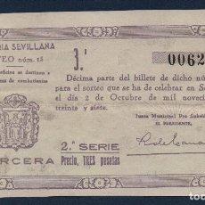 Lotería Nacional: SEVILLA LOTERIA PATRIOTICA, SORTEO Nº 15, AÑO 1937, CALCADO.VER FOTO. Lote 94437470