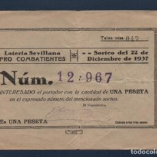 Lotería Nacional: SEVILLA LOTERIA PATRIOTICA,PARTICIPACION, 1 PTA, SORTEO Nº , 22 DICIEMBRE 1937, VER FOTO. Lote 94438242
