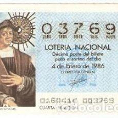 Lotería Nacional: LOTERIA NACIONAL SORTEO 1 DE 1986. CRISTOBAL COLÓN. EL NAVEGANTE. REF. 9-8601. Lote 94691679