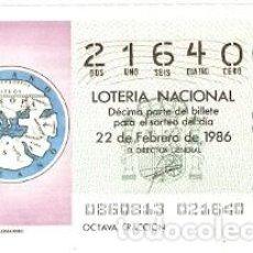 Lotería Nacional: LOTERÍA NACIONAL, SORTEO 8 DE 1986. LA TIERRA SEGÚN ANAXIMANDRO. REF. 9-8608. Lote 94691811