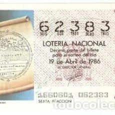 Lotería Nacional: LOTERÍA NACIONAL, SORTEO Nº 16 DE 1986. MAPAMUNDI DE MACROBIO. REF. 9-8616. Lote 94692123