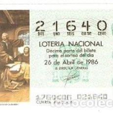 Lotería Nacional: LOTERÍA NACIONAL. SORTEO 17 DE 1986. COLÓN EXPLICA SU PROYECTO EN LA RÁBIDA. REF. 9-8617. Lote 94692171