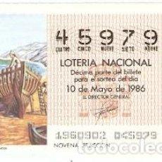 Lotería Nacional: LOTERÍA NACIONAL, SORTEO 19 DE 1986. LOS NAVEGANTES FENICIOS. REF. 9-8619. Lote 94692363