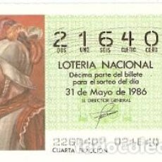 Lotería Nacional: LOTERÍA NACIONAL. SORTEO 22 DE 1986. BARTOLOME COLÓN. REF. 9-8622. Lote 94692523
