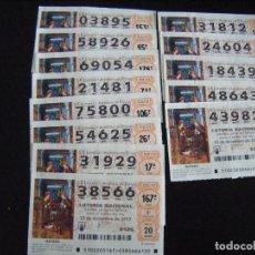 Lotería Nacional: JML LOTE 13 DÉCIMOS BILLETES LOTERIA NACIONAL 22 DICIEMBRE 2012. VER FOTOS.. Lote 94983131