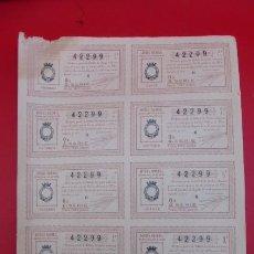 Lotería Nacional: HOJA DE BILLETES SIN CORTAR, DE LOTERIA NACIONAL. AGOSTO DE 1936. REPUBLICA ESPAÑOLA...DESCRIPCION.. Lote 97112655