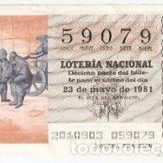 Lotería Nacional: DÉCIMO LOTERÍA NACIONAL Nº 20 DE 23-5-81. FARANDULA. REF. 9-81-20. Lote 97705747