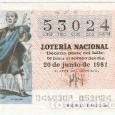 Lotería Nacional: DECIMO LOTERÍA NACIONAL, SORTEO Nº 24, 20-6-81. FUENTEOVEJUNA. REF. 9-81-24. Lote 97706611