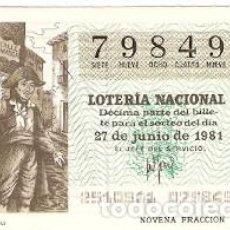 Lotería Nacional: DÉCIMO LOTERÍA NACIONAL, SORTEO Nº 25. 27-6-81. CANTOR DE ALELUYAS. REF. 9-81-25. Lote 97706855