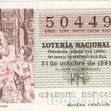 Lotería Nacional: DÉCIMO LOTERÍA NACIONAL, SORTEO Nº 43, 31-10-81. ESPERA ENTRE BASTIDORES. REF. 9-81-43. Lote 97707315