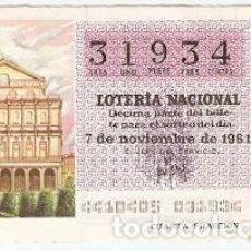 Lotería Nacional: DÉCIMO LOTERÍA NACIONAL, SORTEO Nº 44. 7-11-81. TEATRO REAL. REF. 9-81-44. Lote 97707471